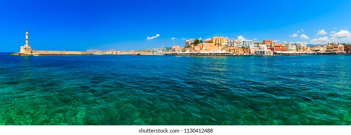beautiful Greek islands series - Crete ,panorama with light house Venetian city of Chania