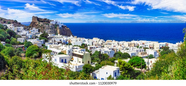 beautiful Greek islands - volcanic Nisyros (Dodecanese) panorama of Mandrakia village