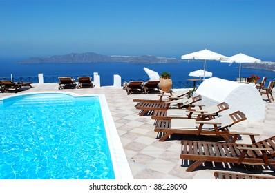 Beautiful Greek resort with sea background, Santorini Island, Greece