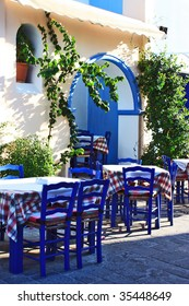 Beautiful greek tavern. Mediterranean.