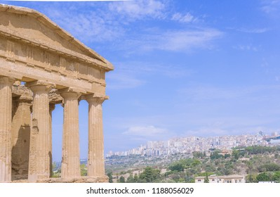 Beautiful greek temple remains in Agrigento, Sicily island in Italy. Famous Valle dei Templi, UNESCO World Heritage Site.