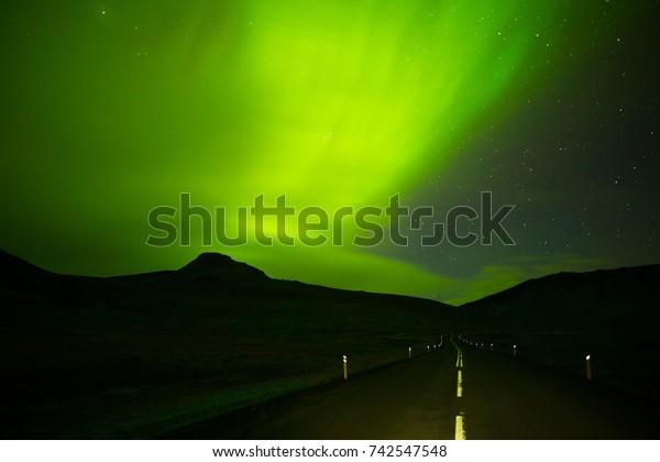Beautiful Green Aurora Borealis Northern Lights Stock Photo
