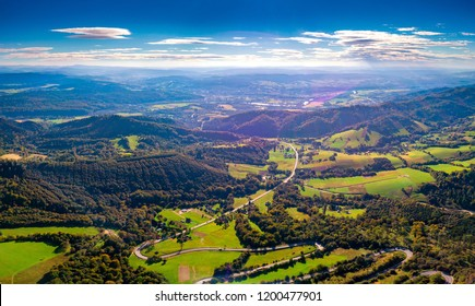Beautiful green Bieszczady mountains landscape photographed from drone. Aerial photography.