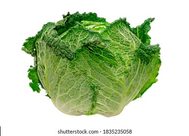 beautiful green cabbage isolated on white background