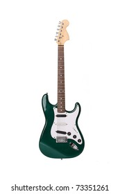 Beautiful green electric guitar isolated on white background