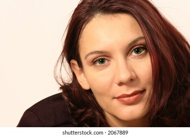 beautiful green eyes woman with red hair