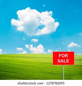 Beautiful green field and blue sky with FOR SALE sign