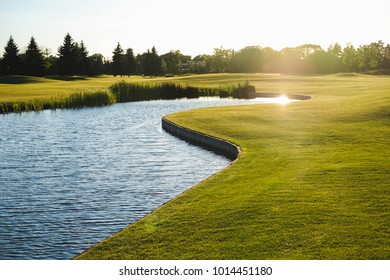 Beautiful green golf field with the lake as a background. Place for text. Copy space. Summer concept. Sea-buck-thorn and berries.