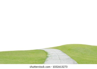 Beautiful green grass hill and concrete pavement, pathway isolated on white background
