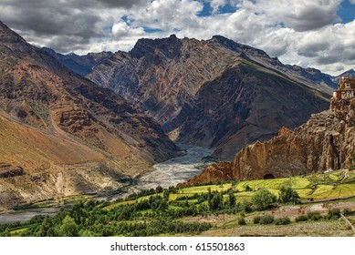 Beautiful green Himalayan landscape of Spiti valley