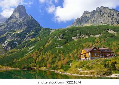 Beautiful green lake in Kezmarska valley, Slovak High Tatra Mountains
