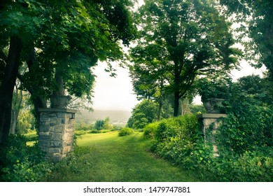 Beautiful green landscape with trees and stone gates