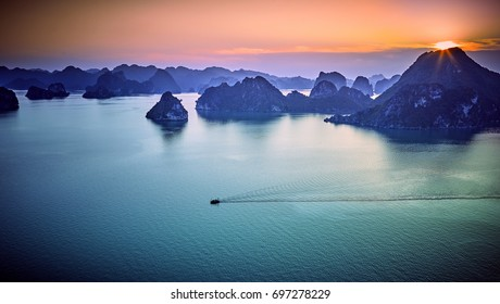 beautiful green limestone mountains in halon bay vietnam asia.