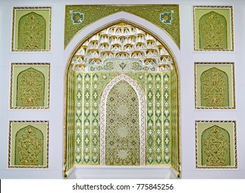 A beautiful a green mihrab in the mosque,for prayer.