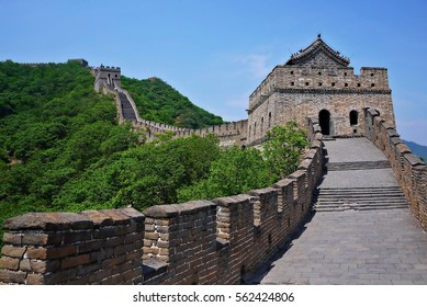 A beautiful green mountain and the watchtower of The Great Wall of China in summer at Mutianyu section nears Beijing, China.