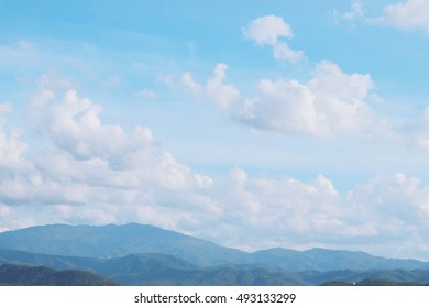 Beautiful green nature mountain and sky view from Northern part of Thailand