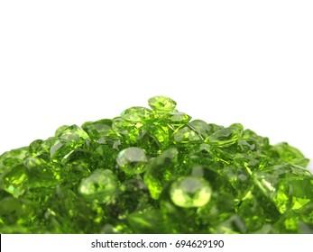 Beautiful green peridot gemstone,isolated on white background
