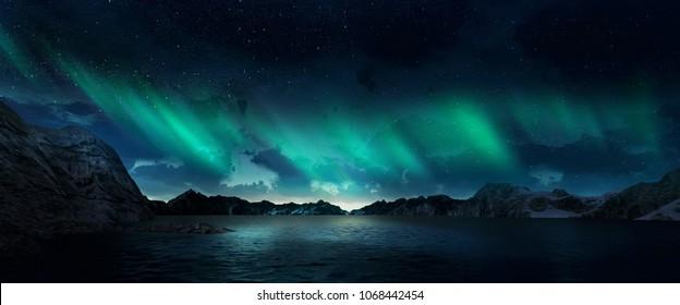 Красивая зеленая и красная аврора танцует над холмами