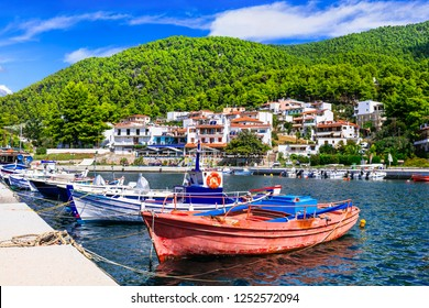 Beautiful green Skopelos island- traditional fishing village Neo Klima. Sporades, Greece