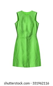 Beautiful green sleeveless dress on white background