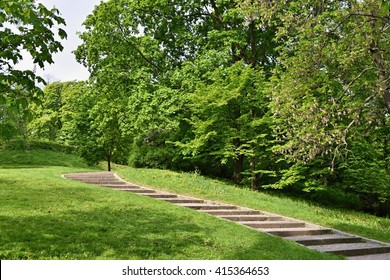 Beautiful green spring park. The path in the park. Beautiful quiet place in the middle of town. Rest and relaxation outdoors. Brno city - Czech republic Spilberk.