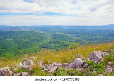 Beautiful green summer landscape. Natural background with sky and green valley. View from the mountainside.   Montenegro, Bar, Skadarska Krajina. View of the surroundings of Lake Skadar - Shutterstock ID 1990778588