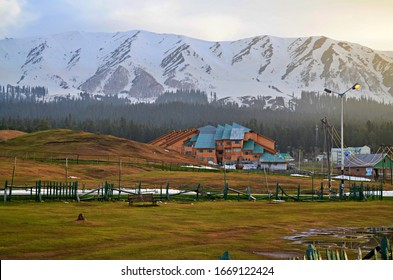 Beautiful Green Valley Infront of Snow Covered Mountains, Nature Landscape, Scenic, Gulmarg, J&K India.
