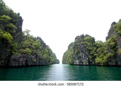 Beautiful green water lagoon at El Nido, Philippines