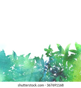 Beautiful green watercolor background with leaves on white background. Photograph blend with hand painted watercolor texture.