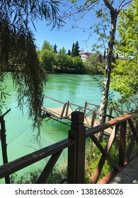 Beautiful green waters of Manavgat River in Antalya, Turkey which is in Southern Turkey.