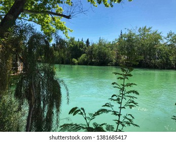 Beautiful green waters of Manavgat River in Antalya which is in Southern Turkey.