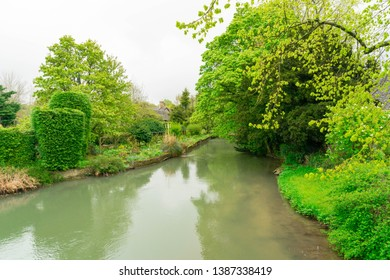 Beautiful greenery nature with small canal in Cotswold, England.
