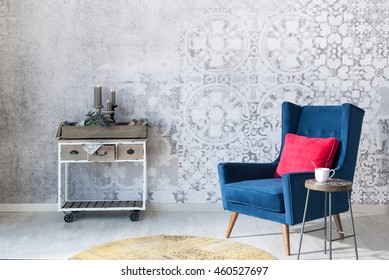 Beautiful grey wall with different home related objects