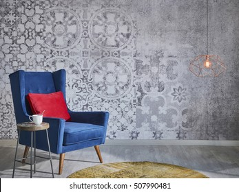 Beautiful grey wall with different home related objects, modern lamp