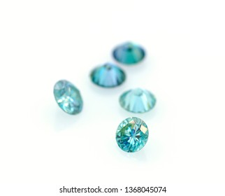 Beautiful group of blue and very bright moissanites. Luxurious stones. Jewelry and gemology.