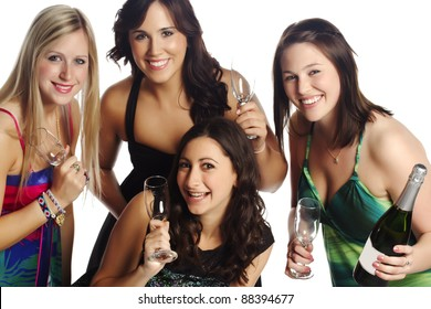 Beautiful group of friends celebrating success Isolated background