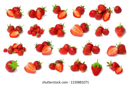 Beautiful group strawberries isolated on white background