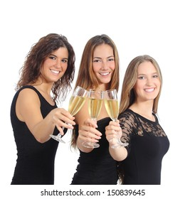 Beautiful group of three women toasting with champagne isolated on a white background