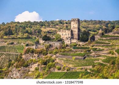 Beautiful Gutenfels Castle on hillside along the Rhine River in Germany