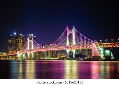Beautiful Gwangan Bridge at night time in Busan city, South Korea.
