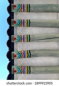 Beautiful Gyeongbokgung eaves in traditional Korean architecture