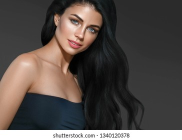 Beautiful hair black long hairstyle woman beauty healthy skin over black background