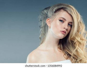 Beautiful hair blonde woman curly long hairstyle