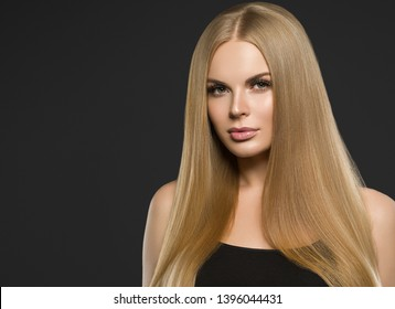 Beautiful hair blonde woman long healthy beauty hairstyle model