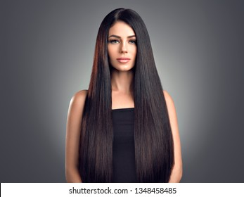 Beautiful hair smooth shine woman  skin care healthy hairstyle long black