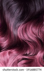 A beautiful hair wavy texture of ombre purple and violet synthetic wig