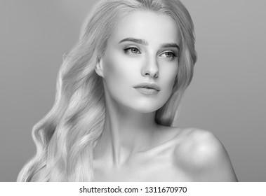 Beautiful hair woman beauty face closeup monochrome