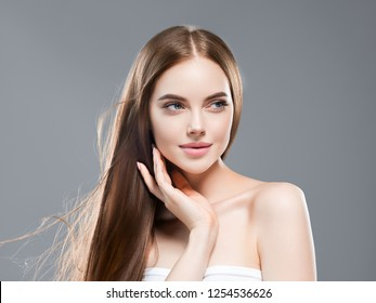 Beautiful hair woman with beauty skin and long hair female portait