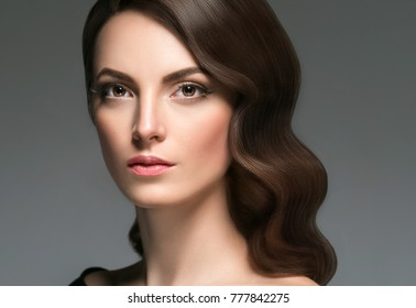 Beautiful hair woman beauty skin portrait with hands. Long beautiful healthy hair model girl stock image.