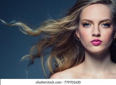 Beautiful hair woman beauty skin portrait. Long beautiful blonde healthy hair model girl stock image